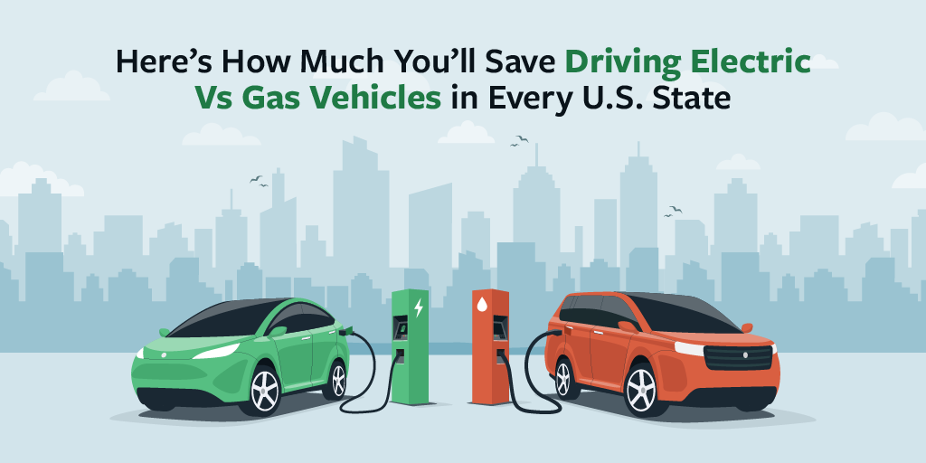 Main graphic for how much you'll save driving electric vs gas in every state